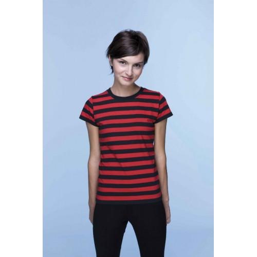 Pruhované tričko Červeno-černé - dámské