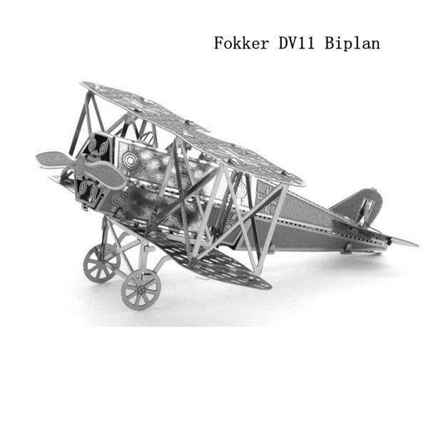 3D ocelová skládačka dvouplošník Fokker D.VII