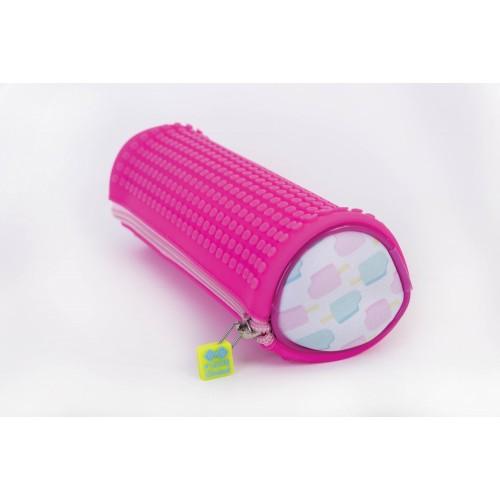 Kreativní pixelový školní penál kulatý neon růžová/zmrzlina