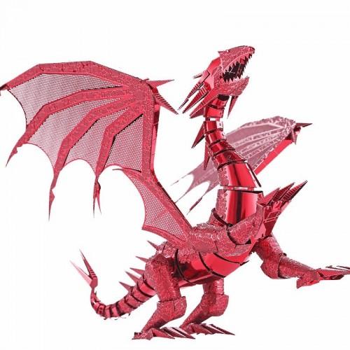 VELKÁ 3D ocelová skládačka červený Drak