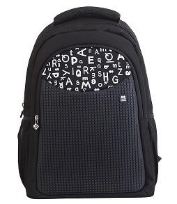 Školní kreativní pixelový batoh s penálem černá abeceda