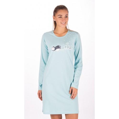 Dámská noční košile s dlouhým rukávem Tučňák