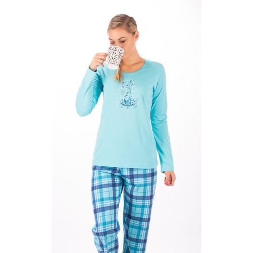 Dámské pyžamo dlouhé Kočka s mašlí