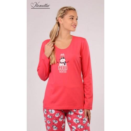 Dámské pyžamo dlouhé Sněhulák se šálou