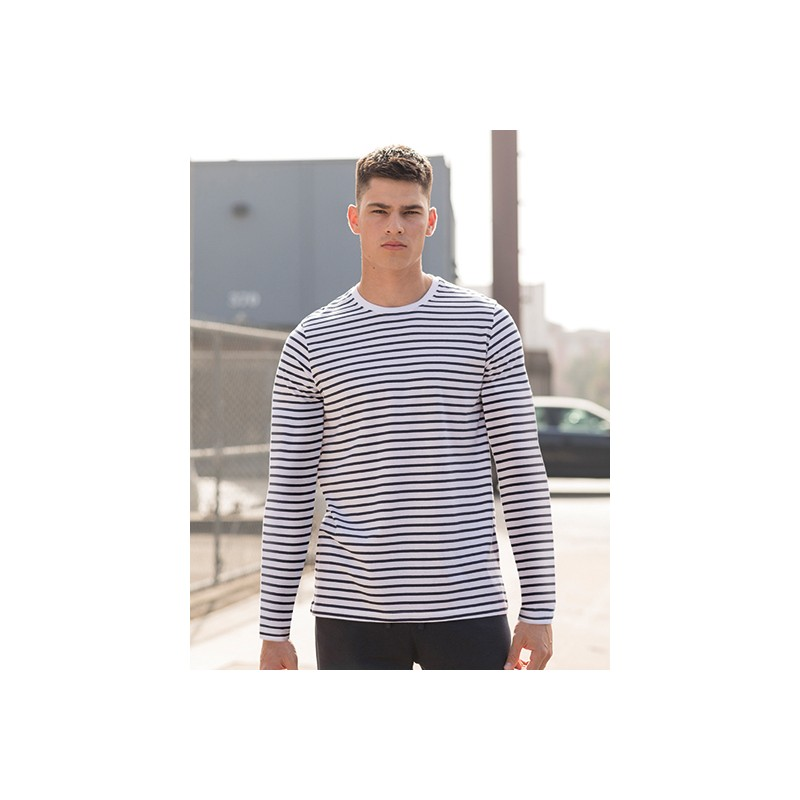 Pruhované tričko dlouhe Bílo-Modré SF Men - pánské