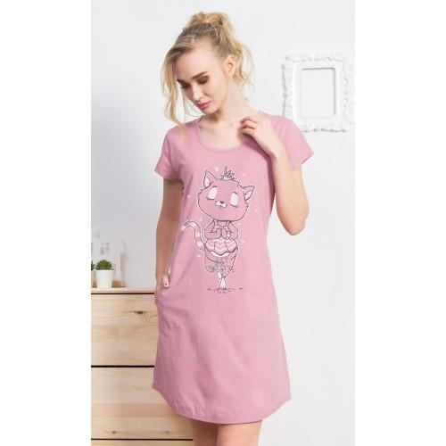 Dámské domácí šaty s krátkým rukávem Kočka Jogínka