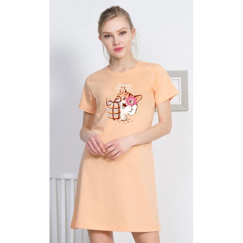 Dámská noční košile s krátkým rukávem Kočka s dárkem