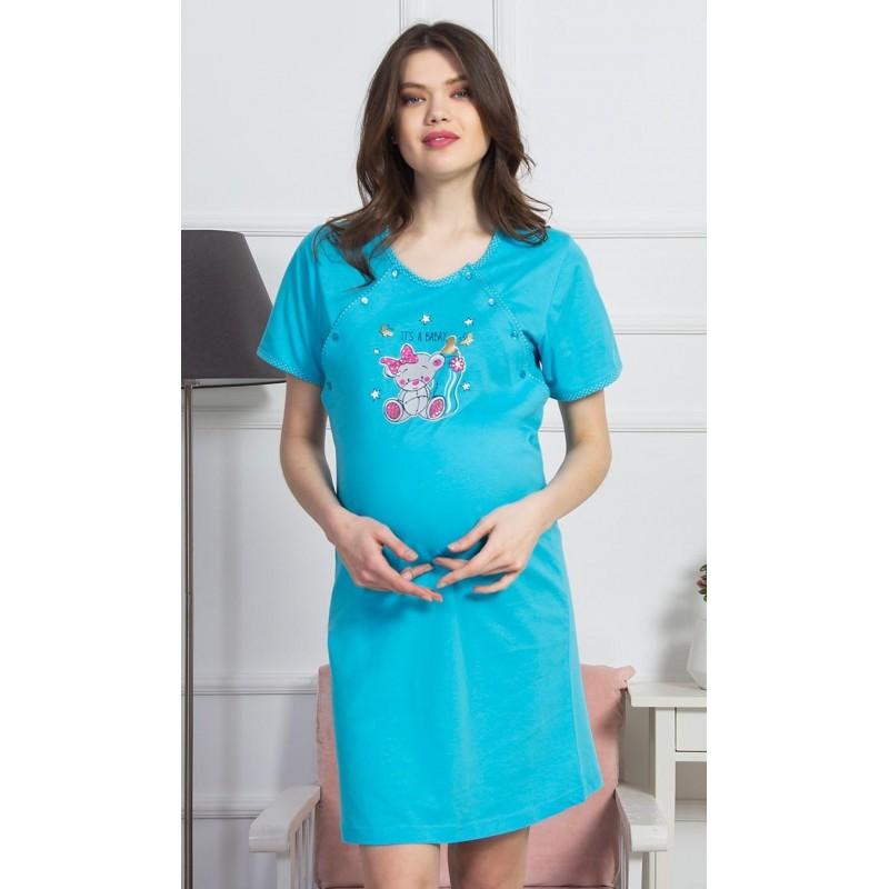 Dámská noční košile mateřská Méďa s mašlí