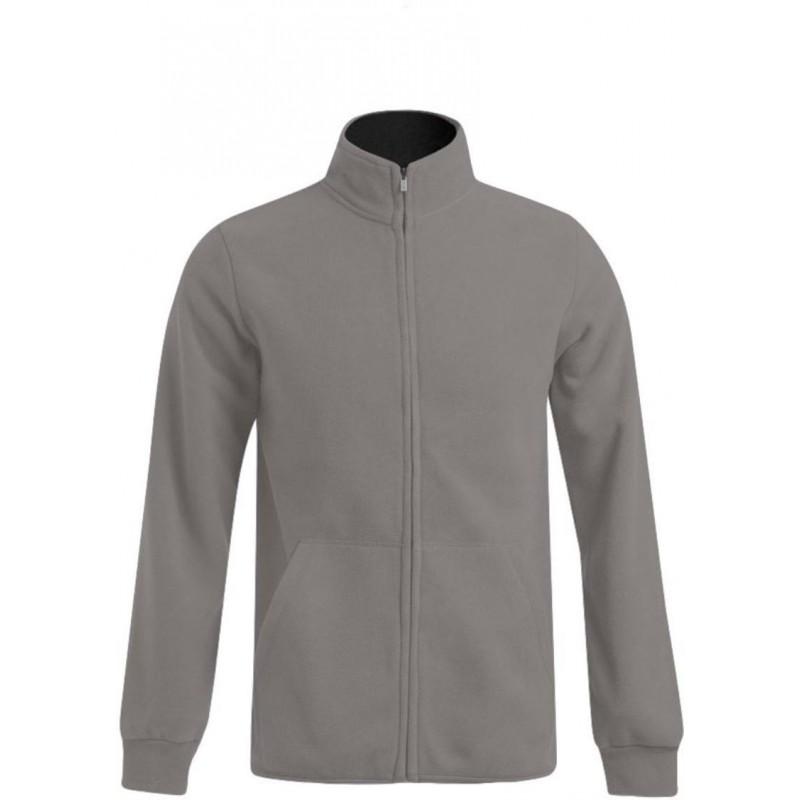 Pánská dvojitá fleece bunda P7971 - Světle šedé