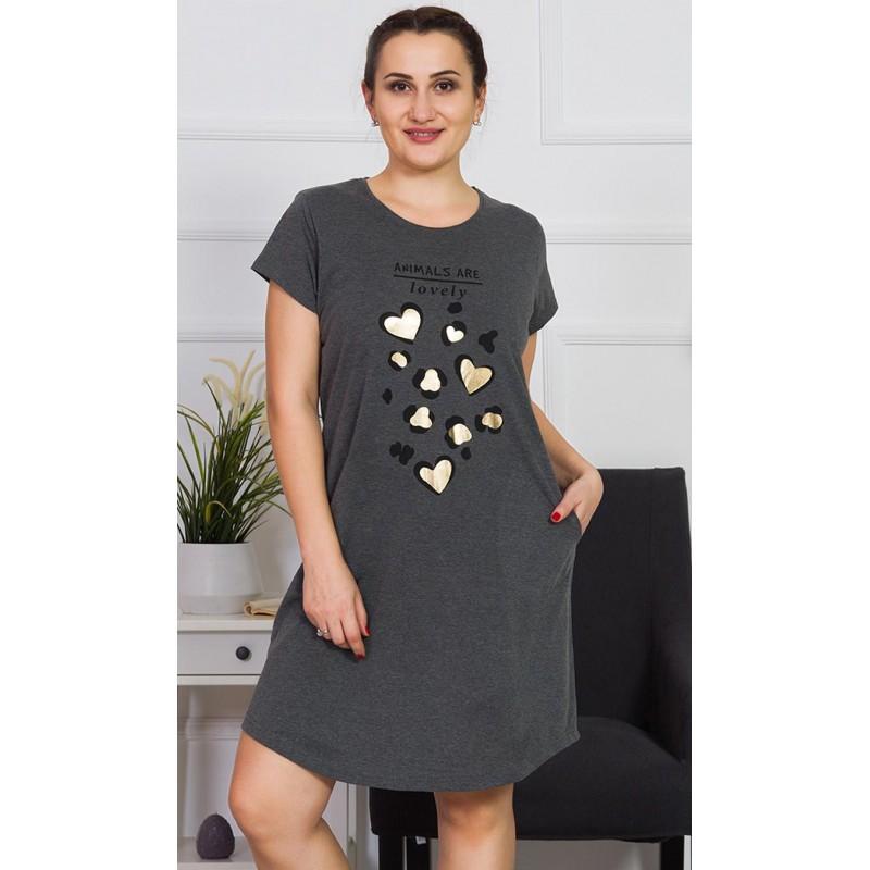 Dámské domácí šaty s krátkým rukávem Srdce