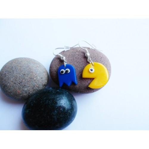 Náušnice Pac-man modrá