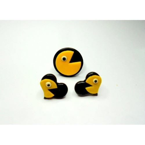 Náušnice Pac-man srdce černá