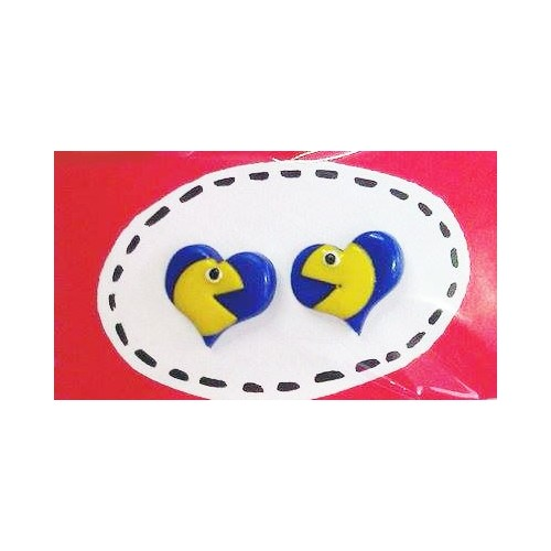 Náušnice Pac-man srdce modrá