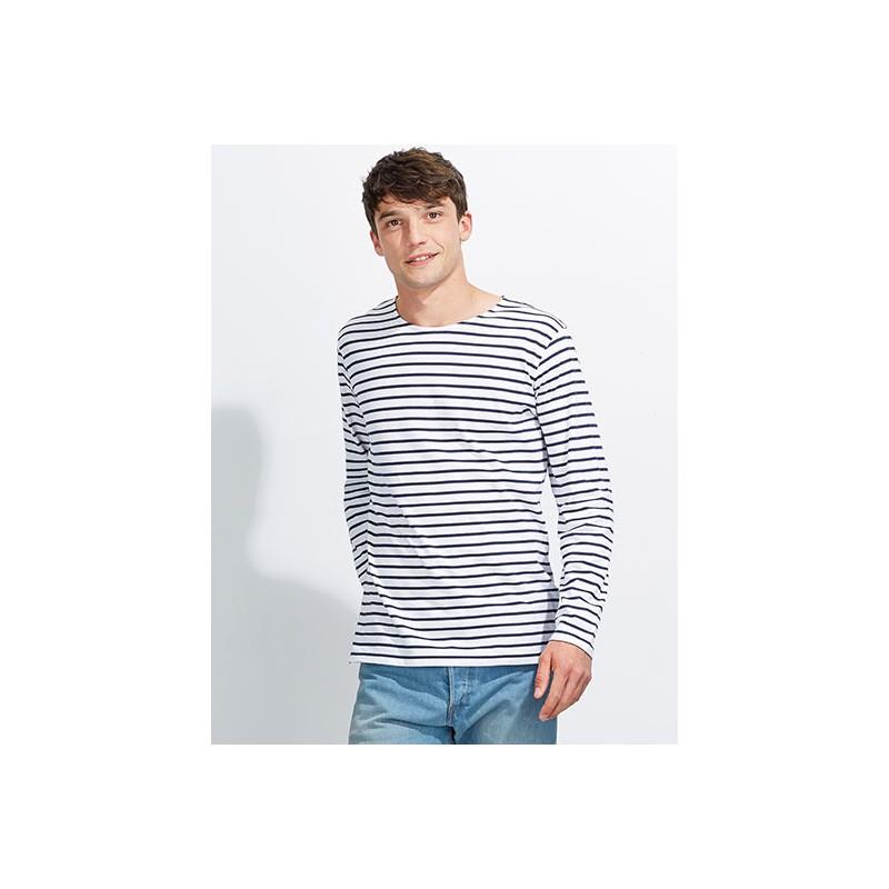 Pruhované tričko Bílo-černé dlouhé - pánské