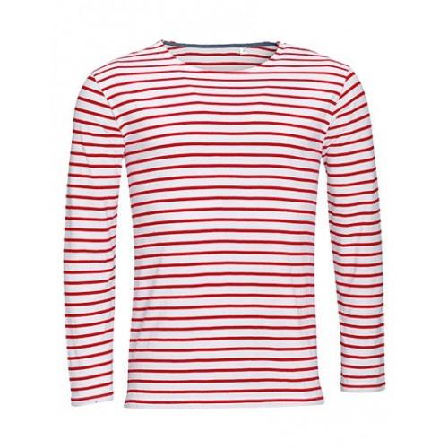 Pruhované tričko Bílo-červené dlouhé SOL´S - pánské