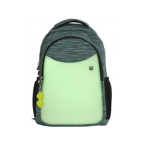 Školní kreativní pixelový batoh světle modrá/šedá/svítící ve tmě