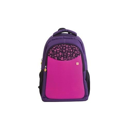 Školní kreativní pixelový batoh s penálem fialová abeceda
