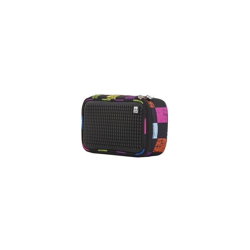 Kreativní pixelový studentský penál barevné puntíky/fuchsiová