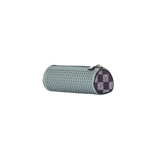 Kreativní pixelový školní penál kulatý šedá kostka