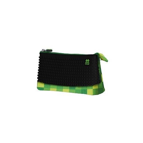 Kreativní pixelový školní penál zelená/černá