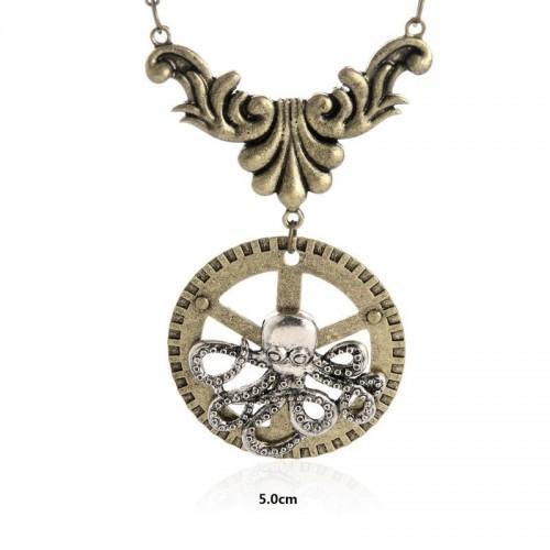 SteamPunk náhrdelník Chobotnice