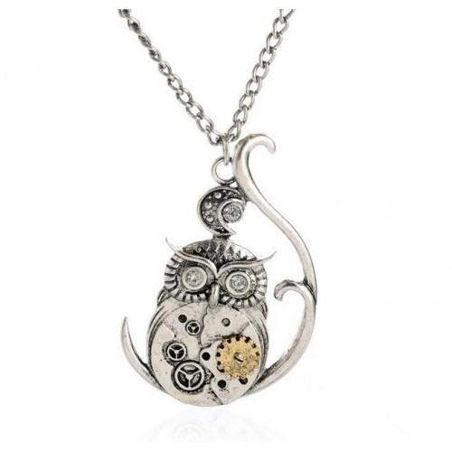 SteamPunk náhrdelník Sova