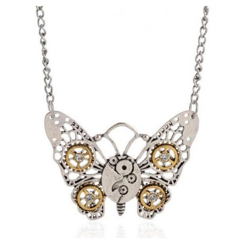 SteamPunk náhrdelník Malý motýl