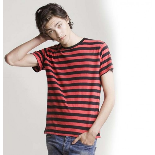 Pruhované tričko Červeno-černé - pánské