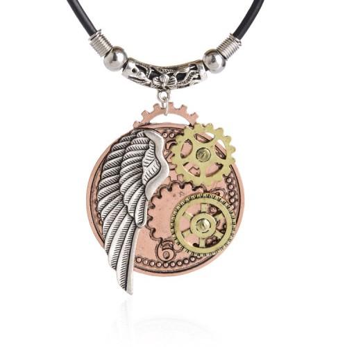 SteamPunk náhrdelník Lebka na kříži