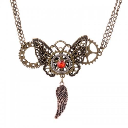 SteamPunk náhrdelník Motýl v3