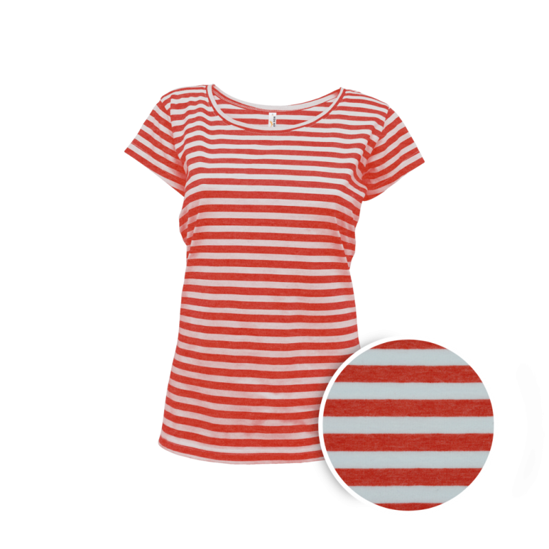 Pruhované tričko Bílo-Červené Anne - dámské