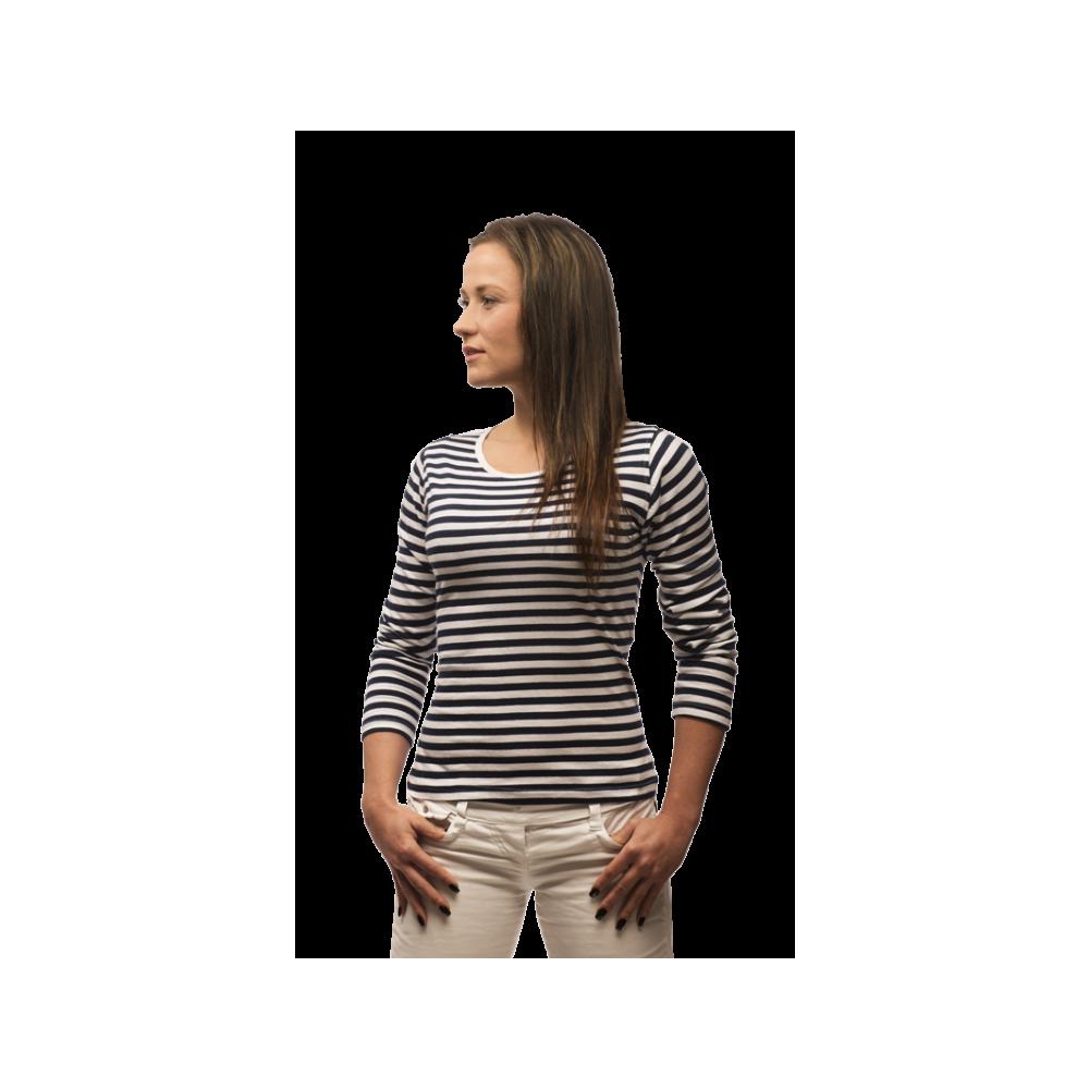 094ef8ce10da ... Pruhované tričko dlouhe Bílo-Modré - dámské