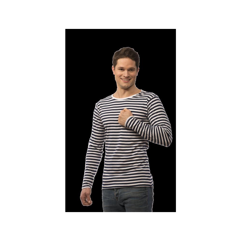 2e9a17470e9e ... Pruhované tričko dlouhe Bílo-Modré - pánské