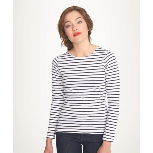 Pruhované tričko Bílo-černé dlouhé - dánské