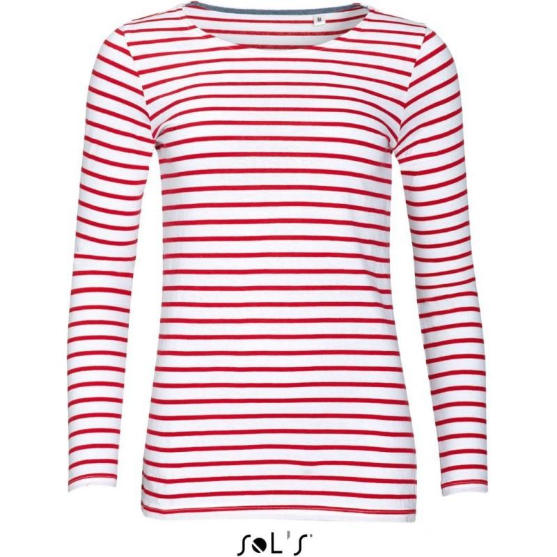 Pruhované tričko Bílo-červené dlouhé - dámské