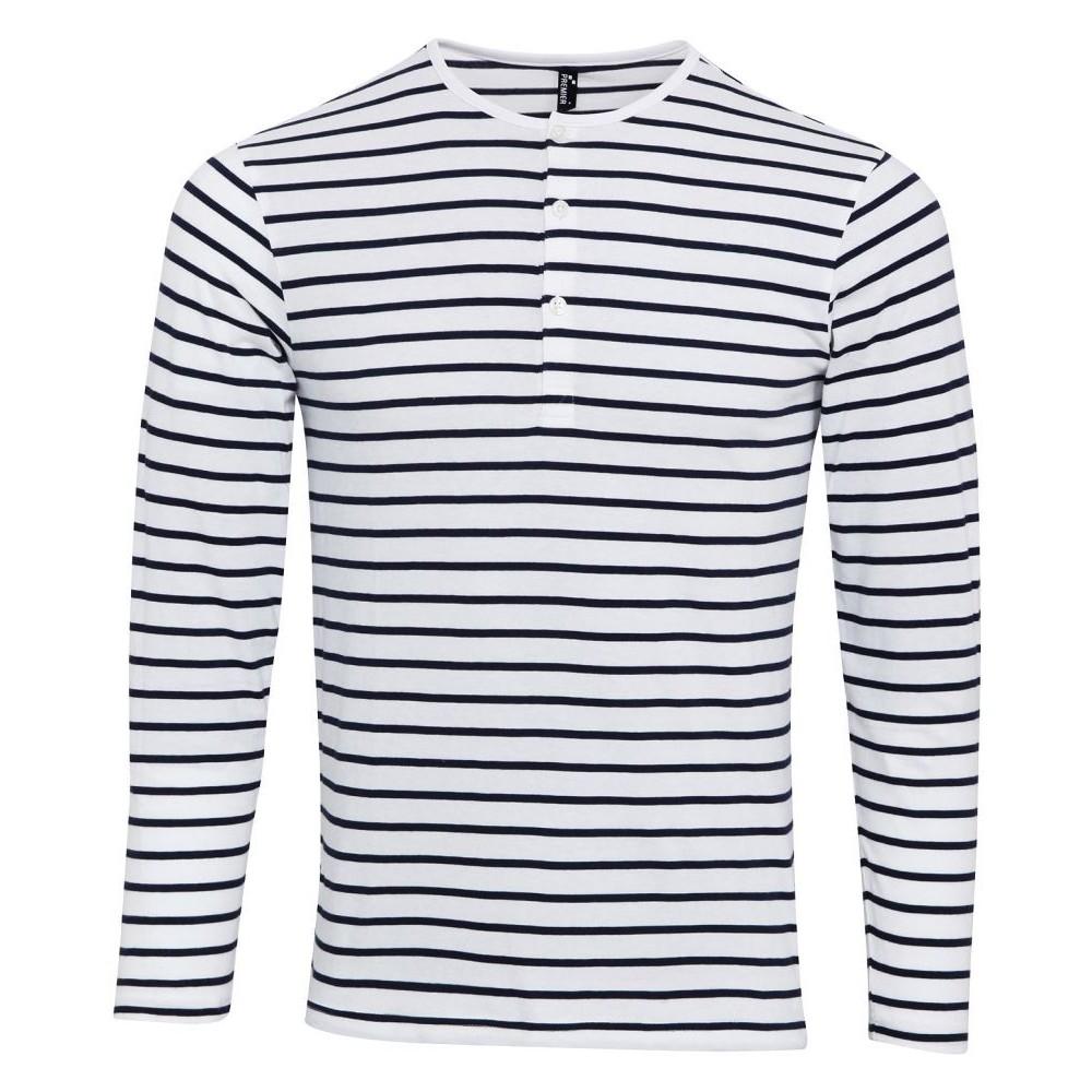 Pruhované tričko dlouhe Bílo-Modré Premier - pánské ... c938a982fe