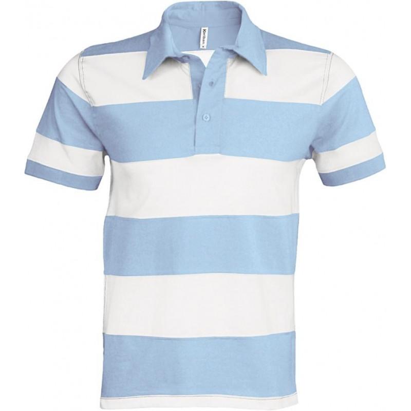 Pruhované tričko Bílo-modré Kariban - pánské