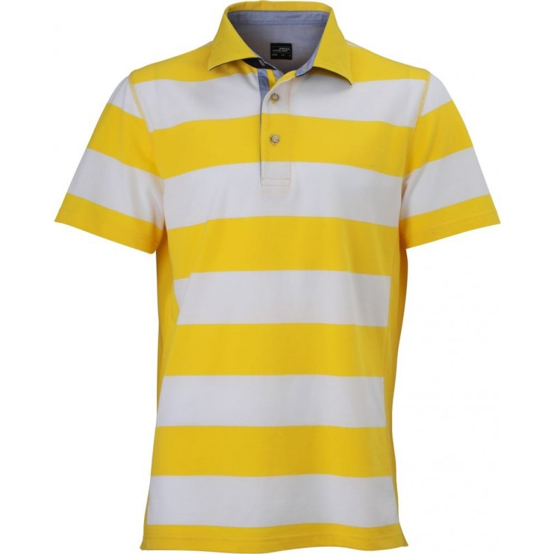 Pruhované tričko Bílo-žluté James & Nicholson - pánské