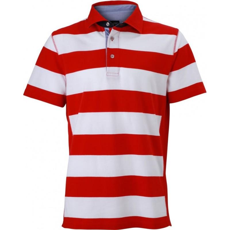 Pruhované tričko Bílo-červené James & Nicholson - pánské