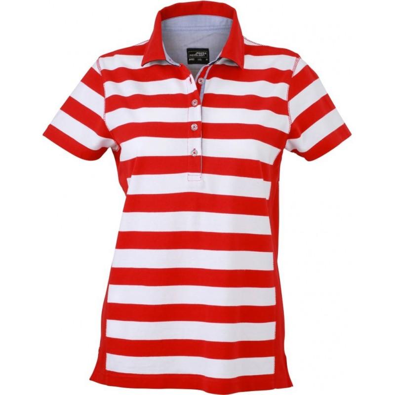 Pruhované tričko Bílo-červené James & Nicholson - dámské