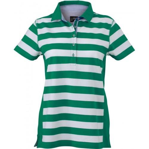 Pruhované tričko Bílo-zelené James & Nicholson - dámské