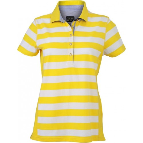 Pruhované tričko Bílo-žluté James & Nicholson - dámské