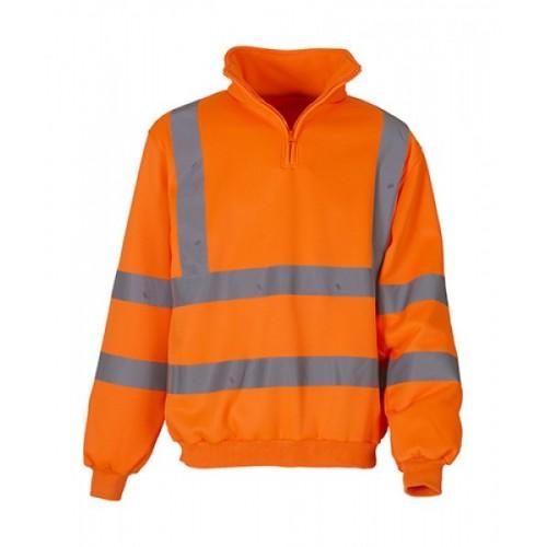 Bezpečnostní reflexní mikina Hi Vis 1/4 Zip oranžová