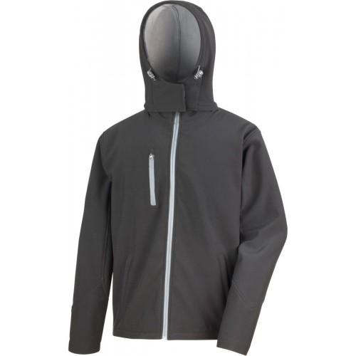 3 vrstvá pánská softshellová bunda s kapucí - Černá