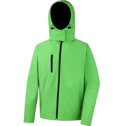 3 vrstvá pánská softshellová bunda s kapucí - Zelená