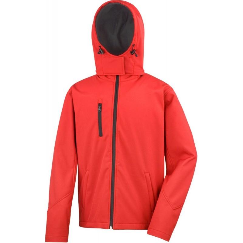 3 vrstvá pánská softshellová bunda s kapucí - Červená