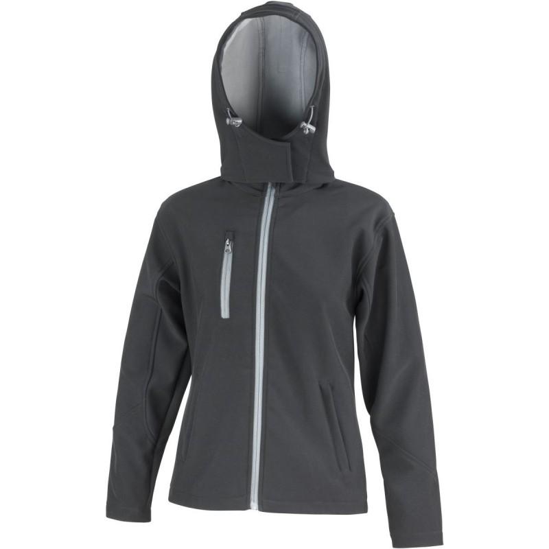 3 vrstvá dámská softshellová bunda s kapucí - Černá