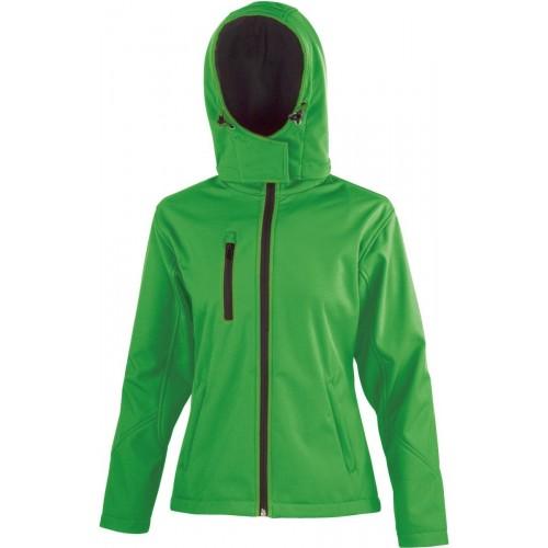 3 vrstvá dámská softshellová bunda s kapucí - Zelená