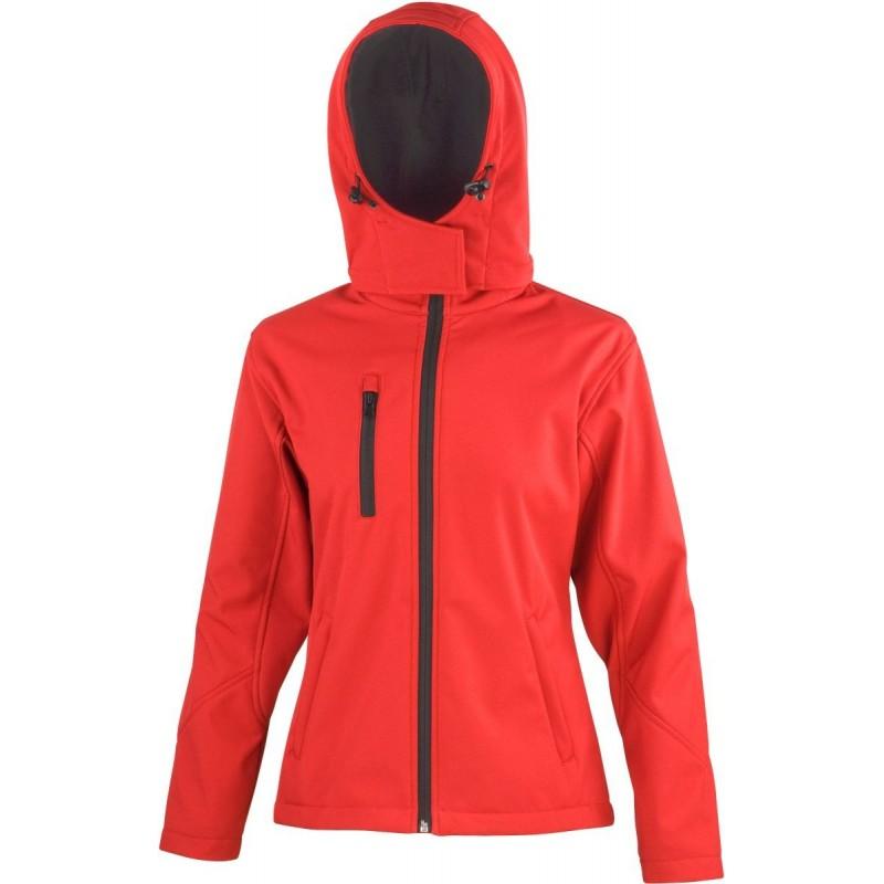 3 vrstvá dámská softshellová bunda s kapucí - Červená