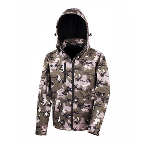 Softshell bunda s kapucí TX - Kamufláž zelená